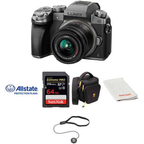 Panasonic Lumix DMC-G7 Mirrorless Micro Four Thirds Digital Camera with 14-42mm Lens Deluxe Kit (Silver)