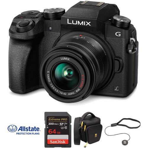Panasonic Lumix DMC-G7 Mirrorless Micro Four Thirds Digital Camera with 14-42mm Lens Deluxe Kit (Black)