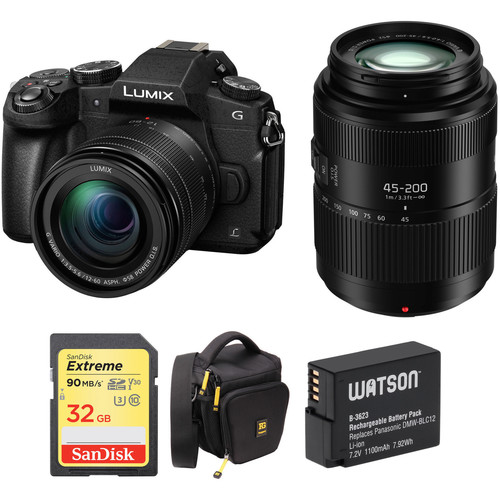 Panasonic Lumix DMC-G85 Mirrorless Micro Four Thirds Digital Camera with 12-60mm & 45-200mm Lenses and Case Kit