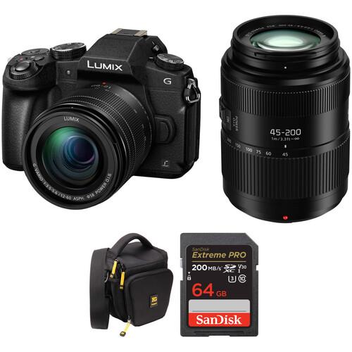 Panasonic Lumix DMC-G85 Mirrorless Micro Four Thirds Digital Camera with 12-60mm & 45-200mm Lenses and Case Kit