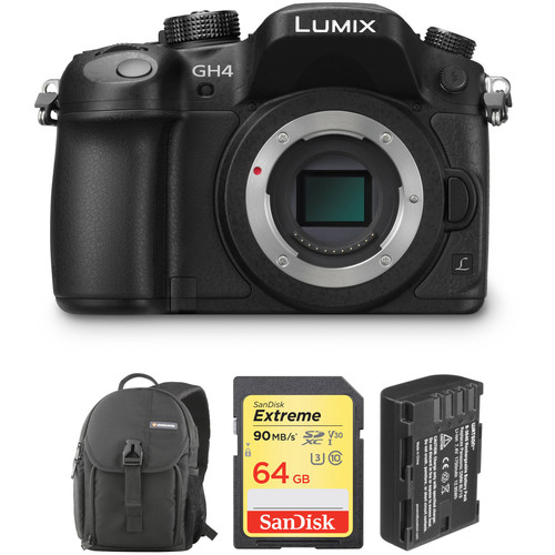 Panasonic Lumix DMC-GH4 Mirrorless Micro Four Thirds Digital Camera Body with Microphone Kit