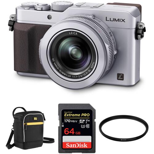 Panasonic Lumix DMC-LX100 Digital Camera with Free Accessory Kit (Silver)