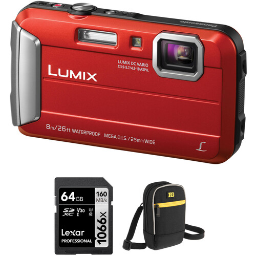 Panasonic Lumix DMC-TS30 Digital Camera with Accessory Kit (Red)
