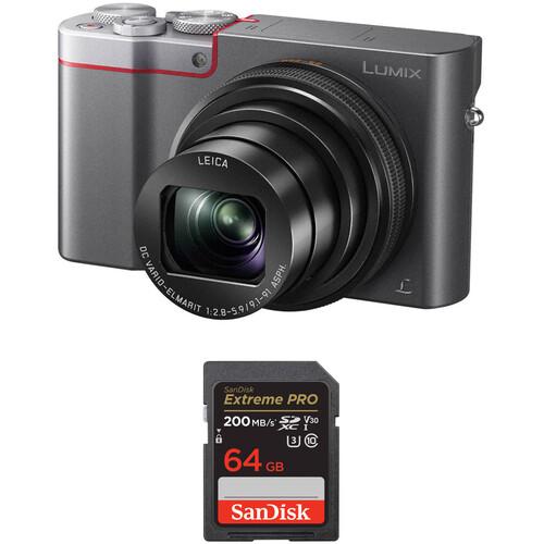 Panasonic Lumix DMC-ZS100 Digital Camera with Memory Card Kit (Silver)