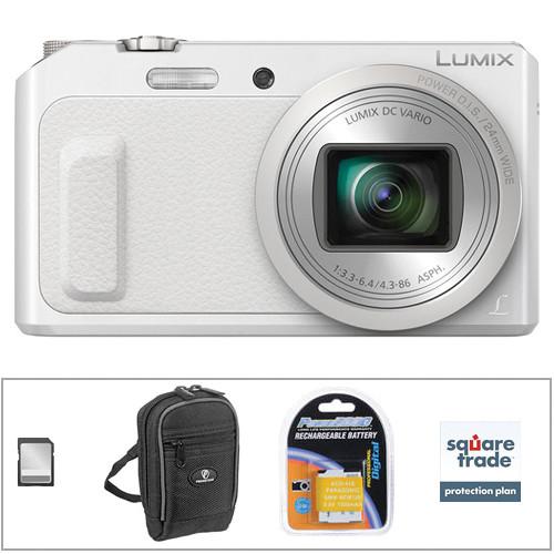 Panasonic Lumix DMC-ZS45 Digital Camera Deluxe Kit (White)