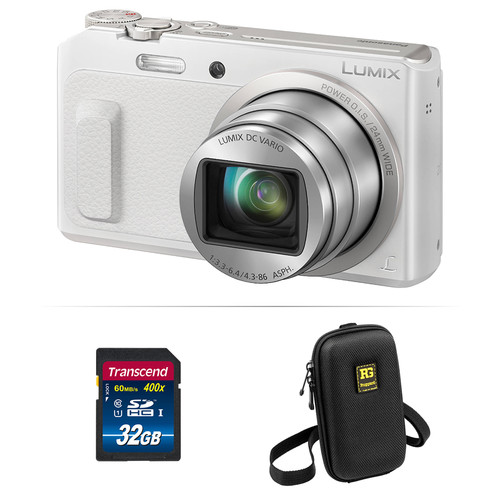 Panasonic Lumix DMC-ZS45 Digital Camera Basic Kit (White)