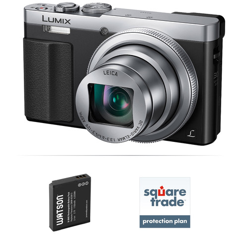 Panasonic Lumix DMC-ZS50 Digital Camera Deluxe Kit (Silver, Refurbished)
