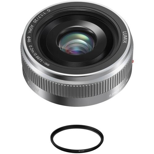 Panasonic Lumix G 20mm f/1.7 II ASPH. Lens with Circular Polarizer Filter Kit (Silver)