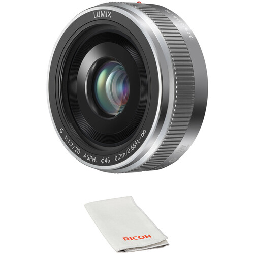 Panasonic Lumix G 20mm f/1.7 II ASPH. Lens with Lens Care Kit (Silver)