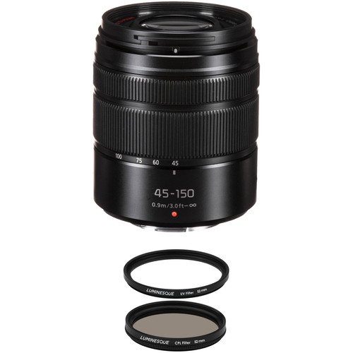 Panasonic Lumix G Vario 45-150mm f/4-5.6 ASPH. MEGA O.I.S. Lens with UV Filter Kit