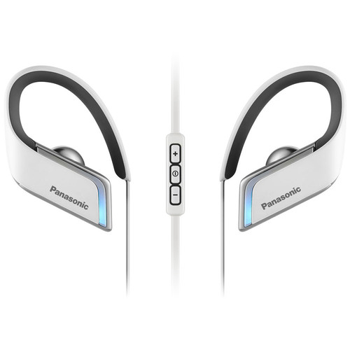 Panasonic WINGS Wireless Bluetooth Sport Clip Earbuds with Mic & Controller (White)