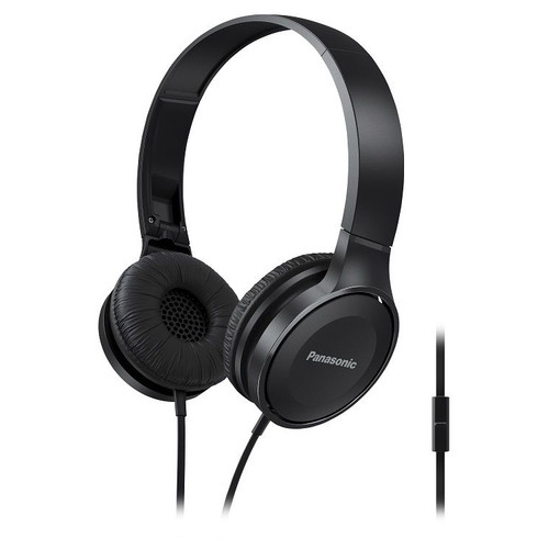 Panasonic Lightweight On-Ear Headphones with Microphone and Controller (Black)