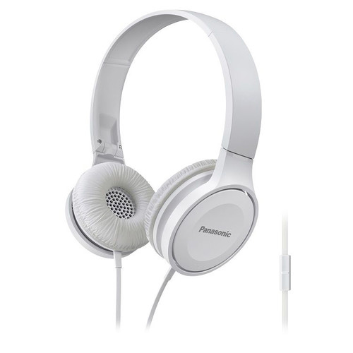 Panasonic Lightweight On-Ear Headphones with Microphone and Controller (White)