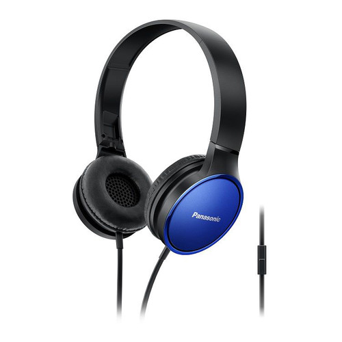 Panasonic Lightweight On-Ear Headphones with Mic and Controller (Blue)
