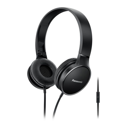 Panasonic Lightweight On-Ear Headphones with Mic and Controller (Black)