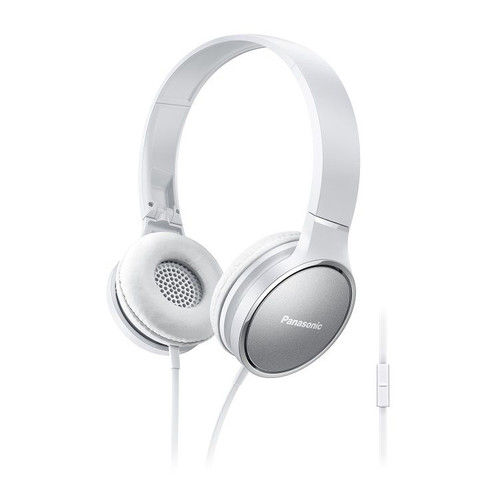 Panasonic Lightweight On-Ear Headphones with Mic and Controller (White)