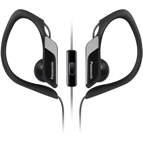 Panasonic RPHS34M-K Water-Resistant Sport Clip Earbud Headphones with Mic & Controller (Black)