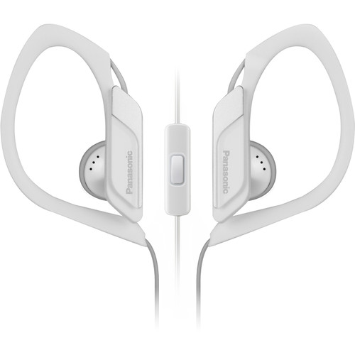 Panasonic RPHS34M-W Water-Resistant Sport Clip Earbud Headphones with Mic & Controller (White)