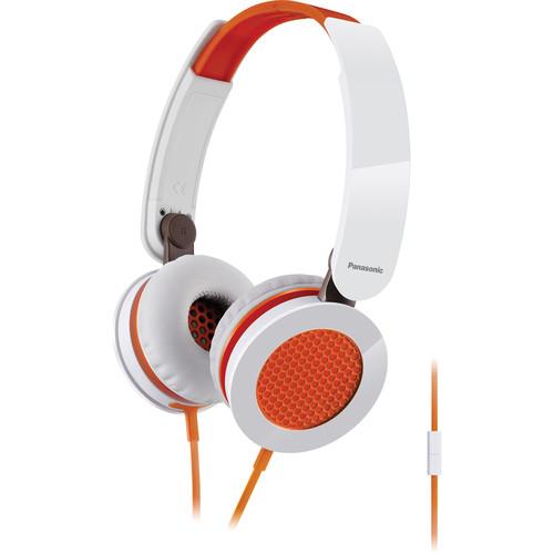 Panasonic RP-HXS200M-D Sound Rush Plus On Ear Headphones (White and Orange)