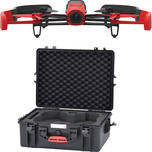 Parrot BeBop Drone Quadcopter with Hard Case Bundle (Red)