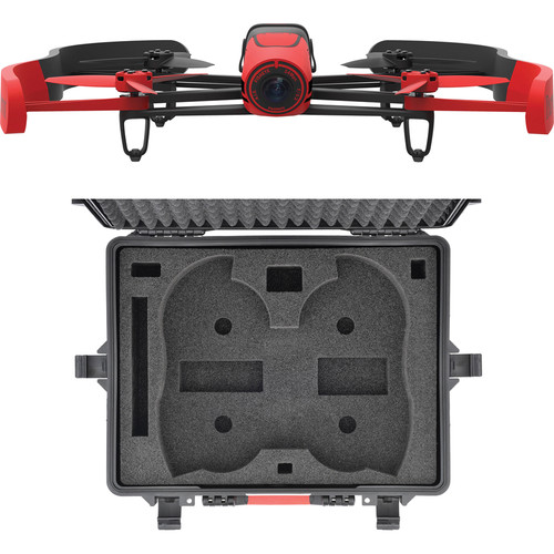 Parrot BeBop Drone Quadcopter with Wheeled Hard Case Bundle (Red)