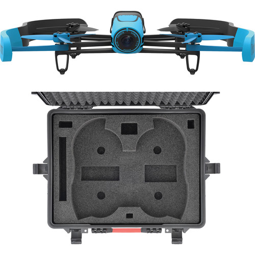 Parrot BeBop Drone Quadcopter with Wheeled Hard Case Bundle (Blue)