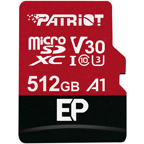 Patriot Ep Series 512Gb Micro Sdxc V30 Uhs-1, U3, C10, A1 Flash Memory