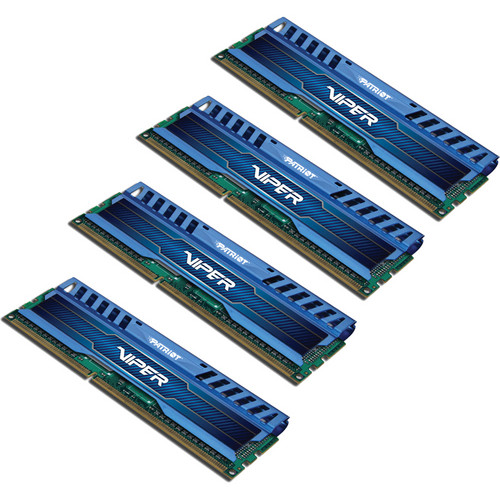 Patriot Viper 3 32GB (4 x 8GB) DDR3 CL10 1600 MHz Memory Kit (Blue)