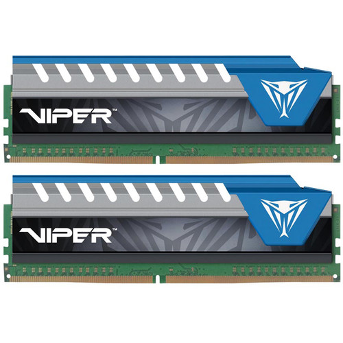 Patriot 16GB Viper Elite DDR4 2400 MHz UDIMM Memory Kit (2 x 8GB, Black/Blue)
