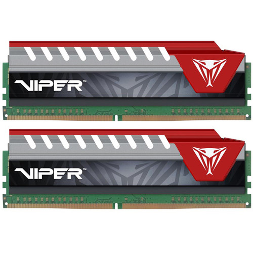 Patriot 16GB Viper Elite DDR4 2400 MHz UDIMM Memory Kit (2 x 8GB, Black/Red)