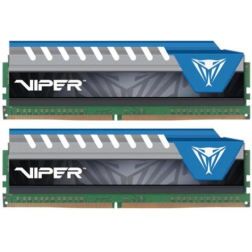 Patriot 16GB Viper Elite DDR4 2666 MHz UDIMM Memory Kit (2 x 8GB, Black/Blue)