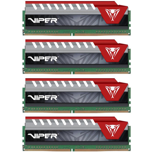 Patriot 64GB Viper Elite DDR4 2666 MHz UDIMM Memory Kit (4 x 16GB, Red)