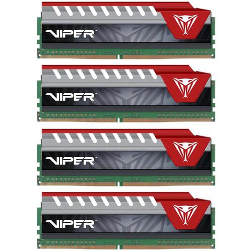 Patriot 64GB Viper Elite DDR4 2800 MHz UDIMM Memory Kit (4 x 16GB, Red)
