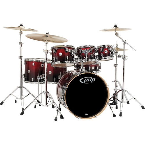 PDP Concept Maple Series 7-Piece Drum Kit (Red Fade to Black Finish)