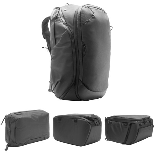 Peak Design Travel Backpack, Tech Pouch, Small and Medium Camera Cube Kit (Black)