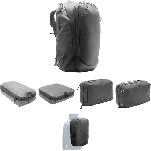 Peak Design Travel Backpack, Tech Pouch, Wash Pouch, Rain Fly, Small and Medium Packing Cube Kit (Black)