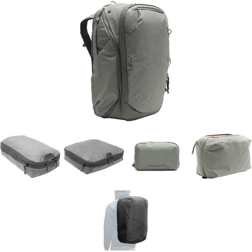 Peak Design Travel Backpack, Tech Pouch, Wash Pouch, Rain Fly, Small and Medium Camera Cube (Sage)