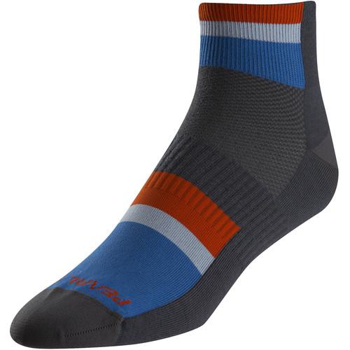 Pearl Izumi Men's ELITE Low Sock (Medium, Long Stripe Blue)