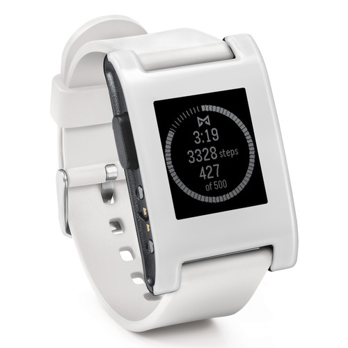 Pebble Smartwatch (Arctic White, Silicone Band)