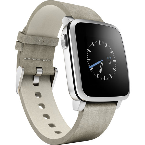 Pebble Time Steel Smartwatch (38mm, Silver, Leather Band)
