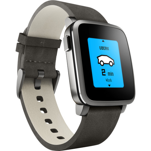 Pebble Time Steel Smartwatch (38mm, Black, Leather Band)
