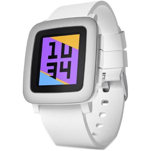 Pebble Time Smartwatch (White with Silver Bezel)