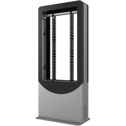 """Peerless-AV Floorstanding Portrait Back-to-Back Kiosk for Two 46"""" Displays up to 3"""" Deep (Black)"""