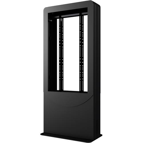 """Peerless-AV Floorstanding Portrait Back-to-Back Kiosk for Two 55"""" Displays up to 3"""" Deep (Black)"""