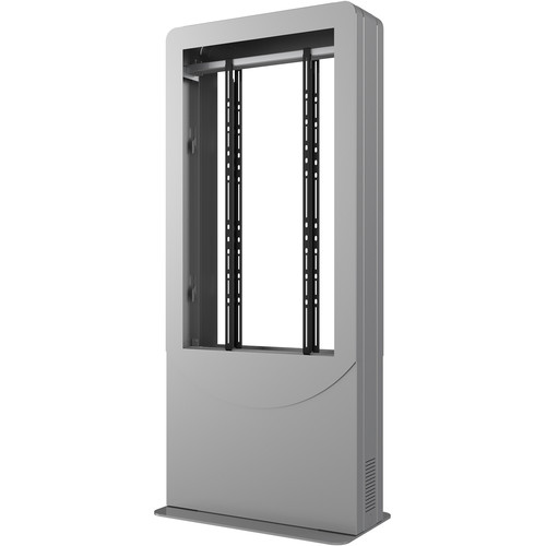 """Peerless-AV Floorstanding Portrait Back-to-Back Kiosk for Two 55"""" Displays up to 3"""" Deep (Silver)"""