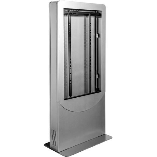 """Peerless-AV Floorstanding Back-to-Back Portrait Kiosk for Two 55"""" Displays up to 1.81"""" Deep (Silver)"""