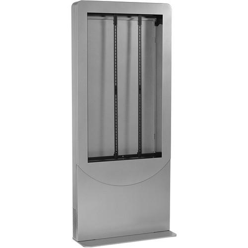 """Peerless-AV Floorstanding Portrait Back-to-Back Ultra-Slim Kiosk for Two 46"""" Displays up to 3.5"""" Deep (Silver)"""