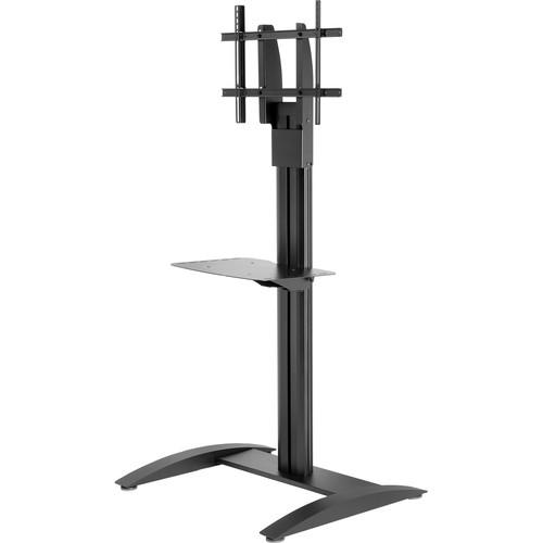 """Peerless-AV SmartMount Flat Panel Floor Stand for 32-75"""" Displays (Black, with Metal Shelf)"""