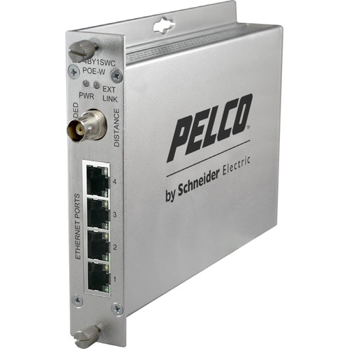 Pelco EthernetConnect EC-4BY1SWC/U Series 4-Port Coaxial Self-Managed PoE Switch with Extended Uplink