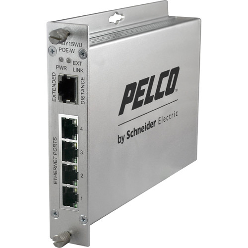 Pelco EthernetConnect EC-4BY1SWC/U Series 4-Port UTP Self-Managed PoE Switch with Extended Uplink